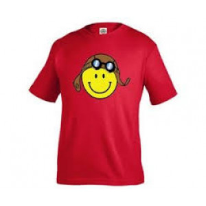 RED AVIATOR SMILY FACE T SHIRT