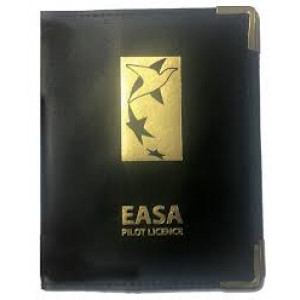 NLH010 EASA POOLEYS EASA PPL LEATHER LICENCE HOLDER COVER - BLACK