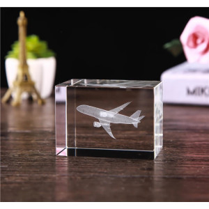 GLASS CUBE AIRPLANE  MODEL